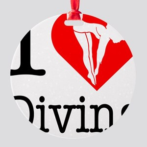 I-Heart-Diving Round Ornament