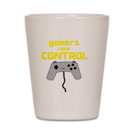 GAMERS TAKE CONTROL yellow Shot Glass