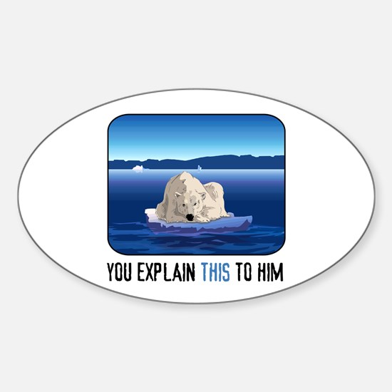 Arctic Polar Bear Sticker (Oval)