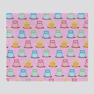 Pink Trendy Owl Shower curtain Throw Blanket