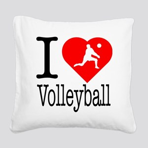 I-Heart-Volleyball Square Canvas Pillow