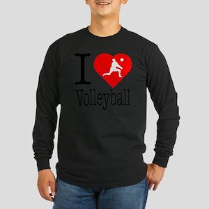I-Heart-Volleyball Long Sleeve Dark T-Shirt