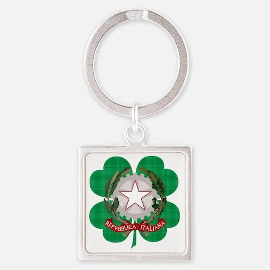 Irish Italian Heritage Square Keychain