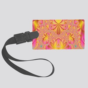 fractal-pink-bag Large Luggage Tag