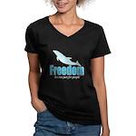 Dolphin Freedom Women's V-Neck Dark T-Shirt