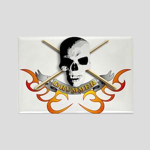 Drummer skull C Rectangle Magnet