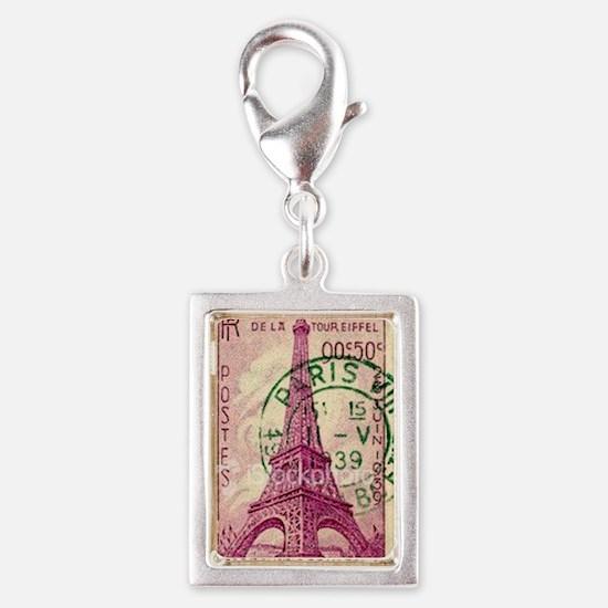 Vintage Stamp Silver Portrait Charm