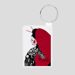 geishashowercurtain Aluminum Photo Keychain