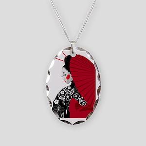 geishashowercurtain Necklace Oval Charm