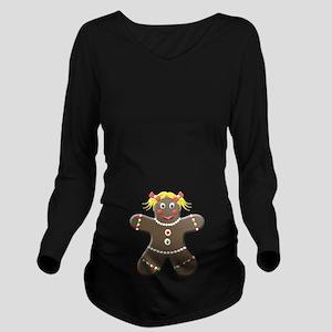 Gingerbread Girl Long Sleeve Maternity T-Shirt
