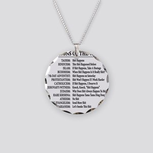 ReligionsOfWorld BLACK Necklace Circle Charm