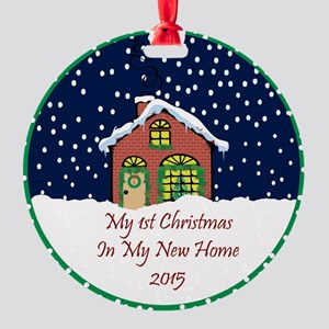 2015 My 1St Christmas Cute Cottage Round Ornament