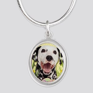 EasterEggCookiesDalmatian Silver Oval Necklace