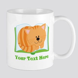 Personalized Book Lover Cat Mugs