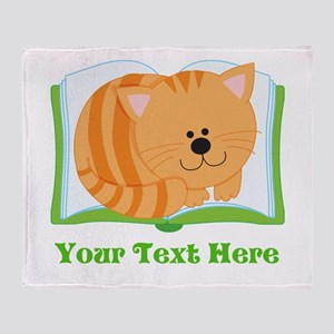 Personalized Book Lover Cat Throw Blanket