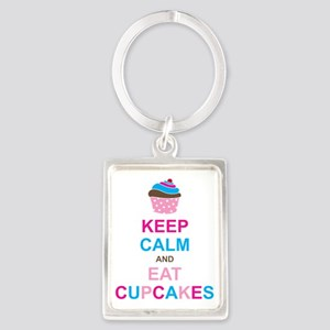 Keep Calm and Eat Cupcakes Portrait Keychain