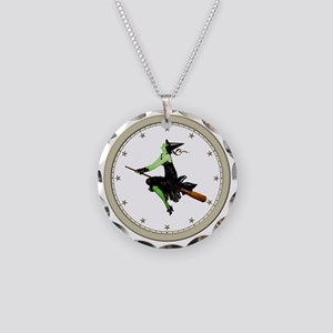 CLOCK 1 Witch Silver Necklace Circle Charm