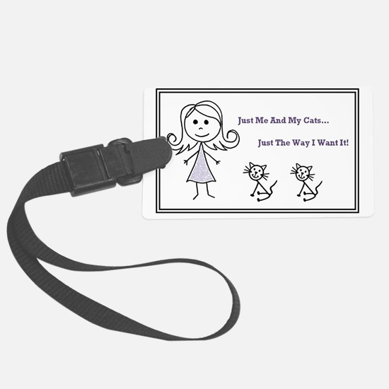Good Stick Figure Woman and Cat Luggage Tag