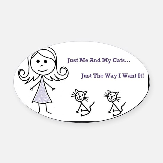 Good Stick Figure Woman and Cat Oval Car Magnet