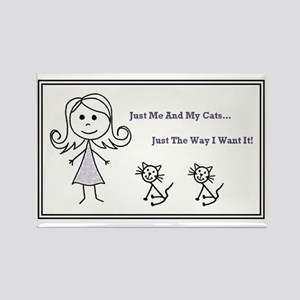 Good Stick Figure Woman and Cat Rectangle Magnet
