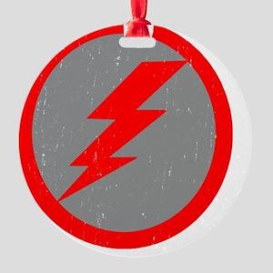 Lightning Bolt Final Red Copy Round Ornament