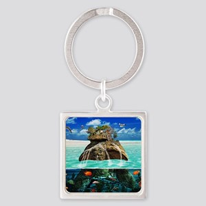 Turtle Island Fantasy Secluded Res Square Keychain