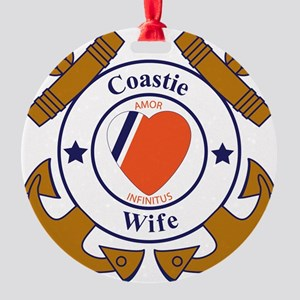 USCG SND 3 Wife Outlines Round Ornament