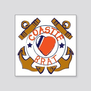 "USCG SND 3a Brat Outlines Square Sticker 3"" x 3"""