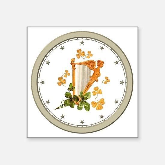 """CLOCK A Golden Harp Silver  Square Sticker 3"""" x 3"""""""