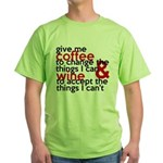 Give Me Coffee And Wine Humor Green T-Shirt