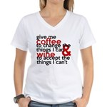 Give Me Coffee And Wine Humor Women's V-Neck T-Shi