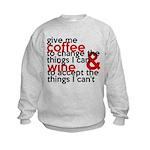 Give Me Coffee And Wine Humor Kids Sweatshirt
