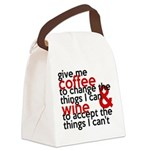 Give Me Coffee And Wine Humor Canvas Lunch Bag