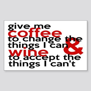Give Me Coffee And Wine Humor Sticker (Rectangle)