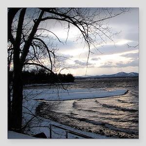 """sunset on Lake Champlain Square Car Magnet 3"""" x 3"""""""