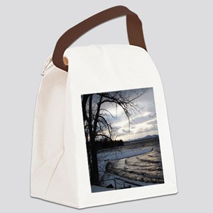 sunset on Lake Champlain Canvas Lunch Bag