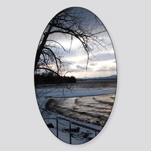 sunset on Lake Champlain Sticker (Oval)