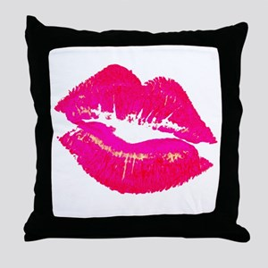 lipsshirtwhite Throw Pillow