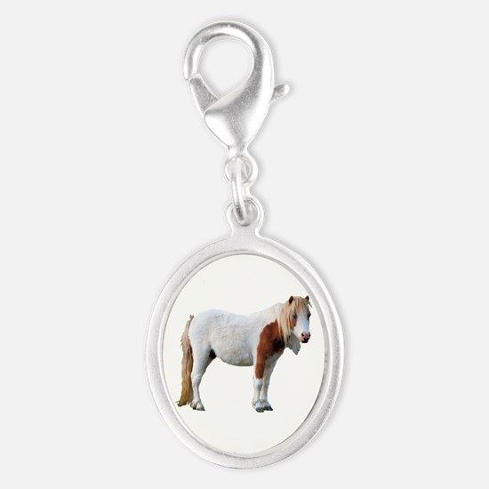 Filly Cutout Silver Oval Charm