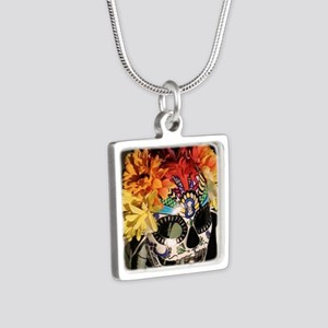 Mayan Rainbow Silver Square Necklace