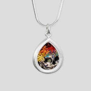 Mayan Rainbow Silver Teardrop Necklace