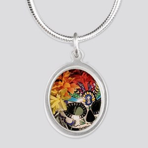 Mayan Rainbow Silver Oval Necklace