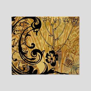 PRINTS - BEE floral Throw Blanket