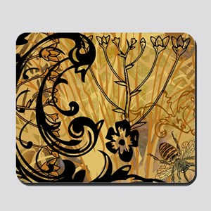 PRINTS - BEE floral Mousepad