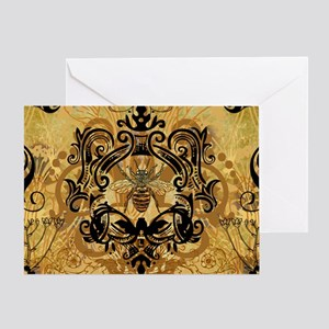 BeeFloralGoldPiloC1 Greeting Card