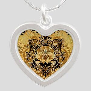 BeeFloralGoldKduvet Silver Heart Necklace