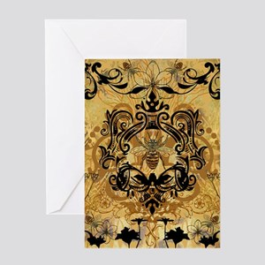 BeeFloralGoldTwDuvet Greeting Card