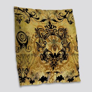 BeeFloralGoldQduvet Burlap Throw Pillow