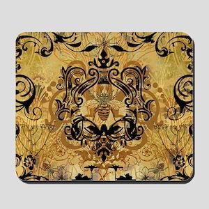 BeeFloralGoldQduvet Mousepad