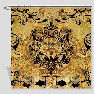 BeeFloralGoldQduvet Shower Curtain